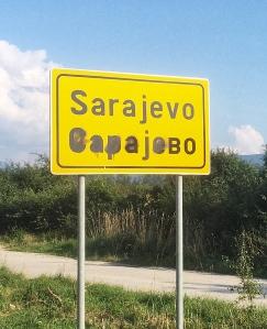 Sarajevo road sign portrait